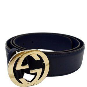 Gucci Blue Interlocking G Leather Belt Size 90/36